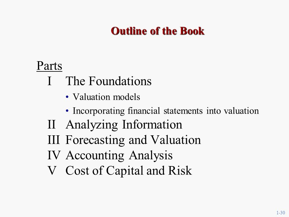 1-30 Outline of the Book Parts IThe Foundations Valuation models Incorporating financial statements into valuation IIAnalyzing Information IIIForecasting and Valuation IVAccounting Analysis VCost of Capital and Risk