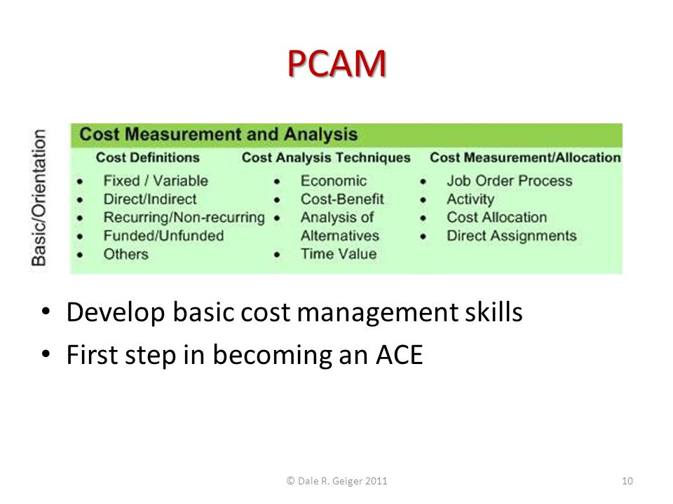 PCAM Develop basic cost management skills First step in becoming an ACE © Dale R. Geiger