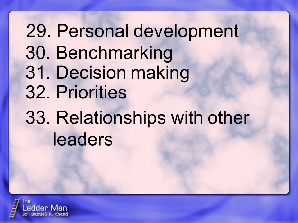 29. Personal development 30. Benchmarking 31. Decision making 32.
