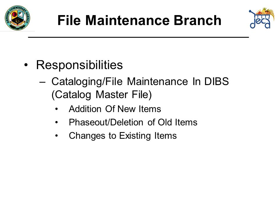 File Maintenance Branch Responsibilities –Cataloging/File Maintenance In DIBS (Catalog Master File) Addition Of New Items Phaseout/Deletion of Old Items Changes to Existing Items