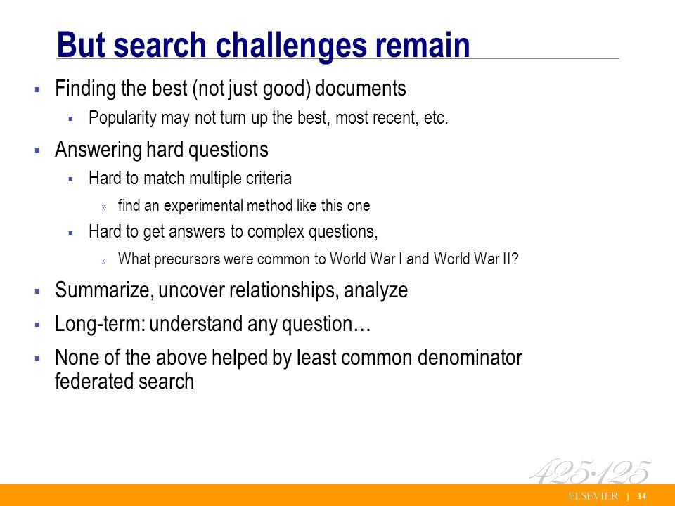 | 14 But search challenges remain Finding the best (not just good) documents Popularity may not turn up the best, most recent, etc.