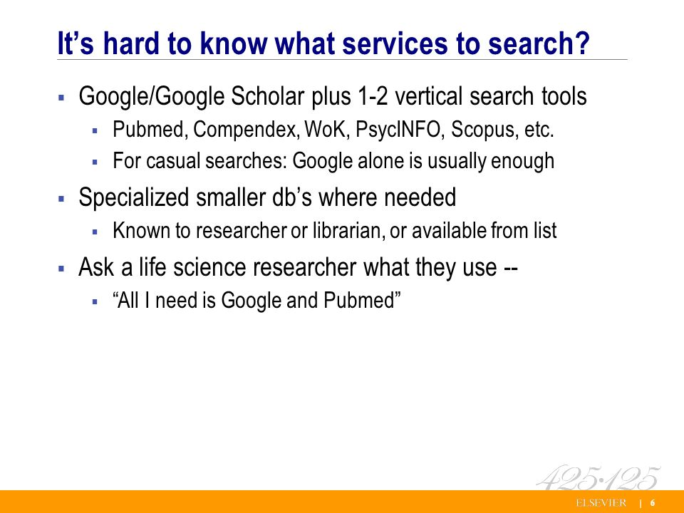 | 6 Its hard to know what services to search.