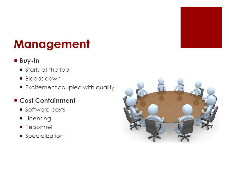 Management Buy-In Starts at the top Bleeds down Excitement coupled with quality Cost Containment Software costs Licensing Personnel Specialization