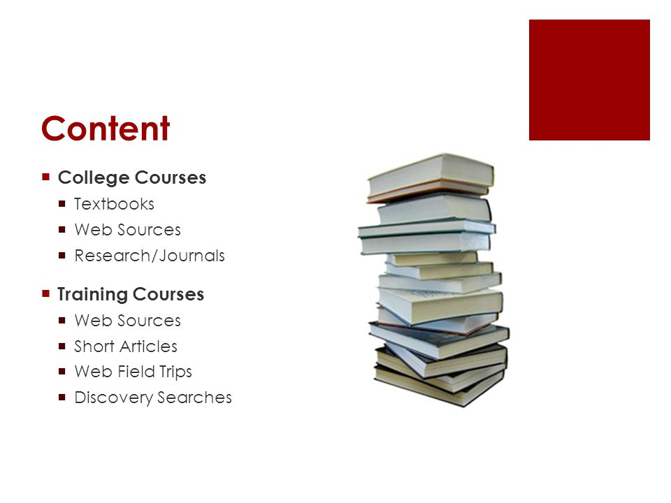 Content College Courses Textbooks Web Sources Research/Journals Training Courses Web Sources Short Articles Web Field Trips Discovery Searches