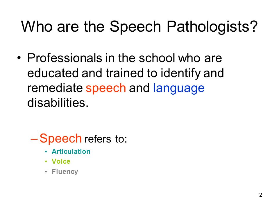 2 Who are the Speech Pathologists.