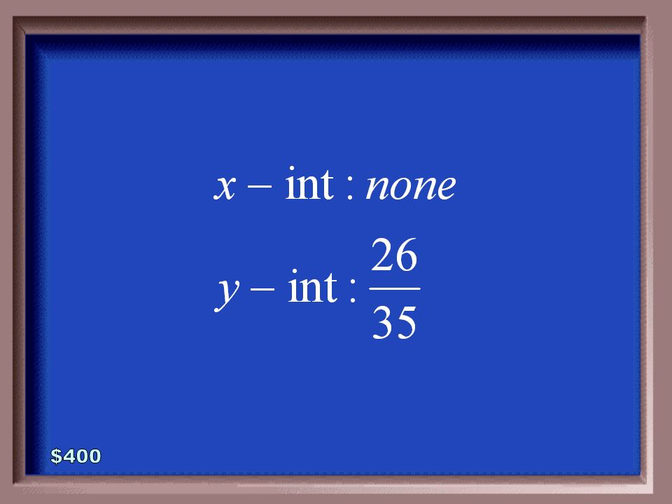 4-400 Find the x- and y- intercepts of the linear equation defined below.