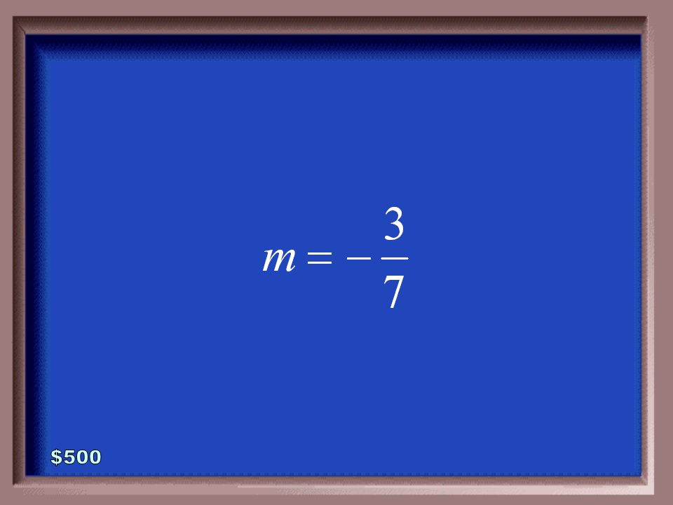 5-500 Find the slope of the line whose equation is defined below.