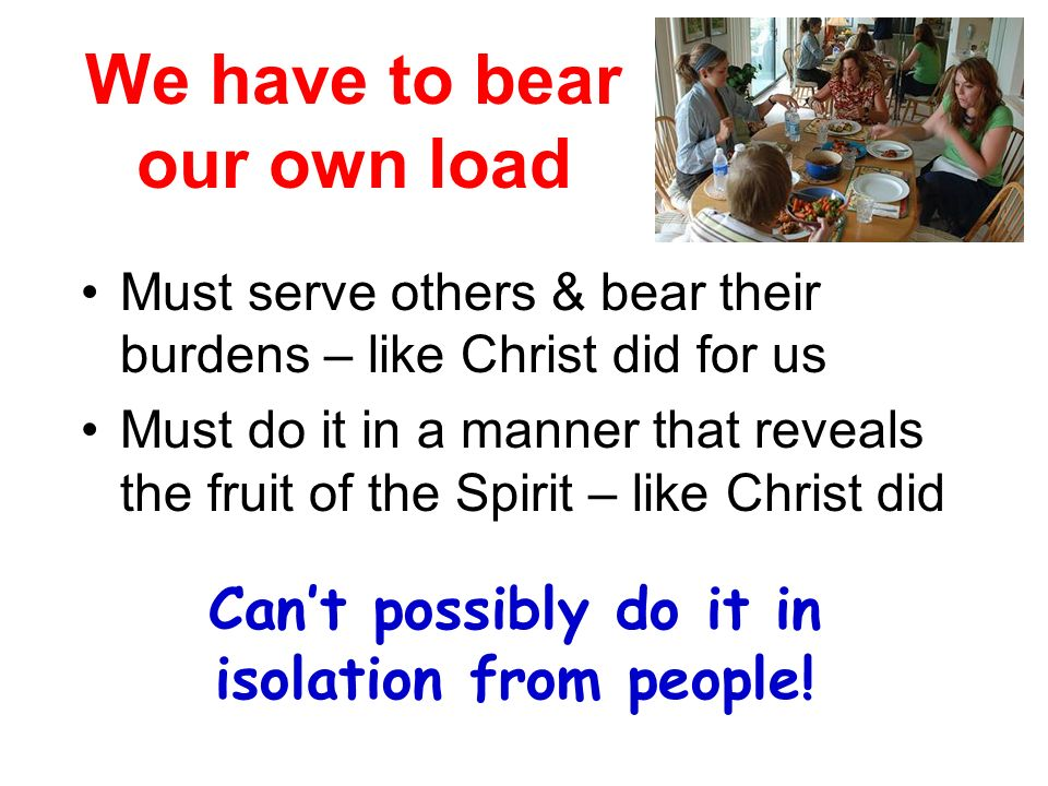 We have to bear our own load Must serve others & bear their burdens – like Christ did for us Must do it in a manner that reveals the fruit of the Spirit – like Christ did Cant possibly do it in isolation from people!