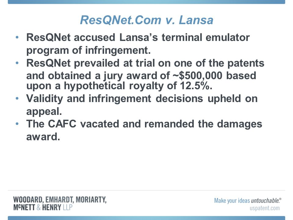ResQNet.Com v. Lansa ResQNet accused Lansas terminal emulator program of infringement.