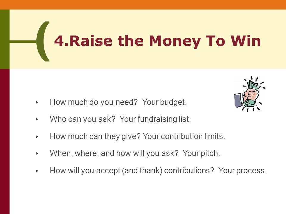 4.Raise the Money To Win How much do you need. Your budget.