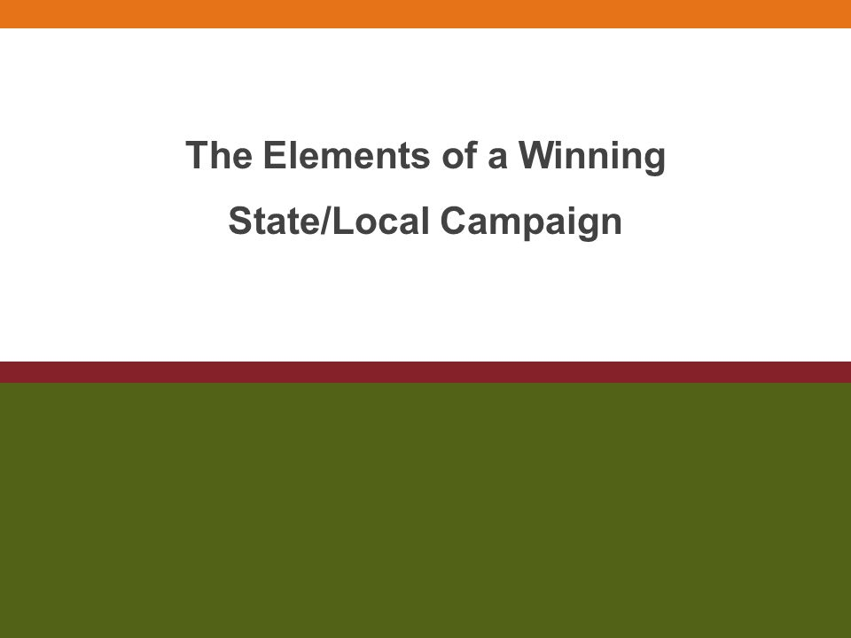 The Elements of a Winning State/Local Campaign