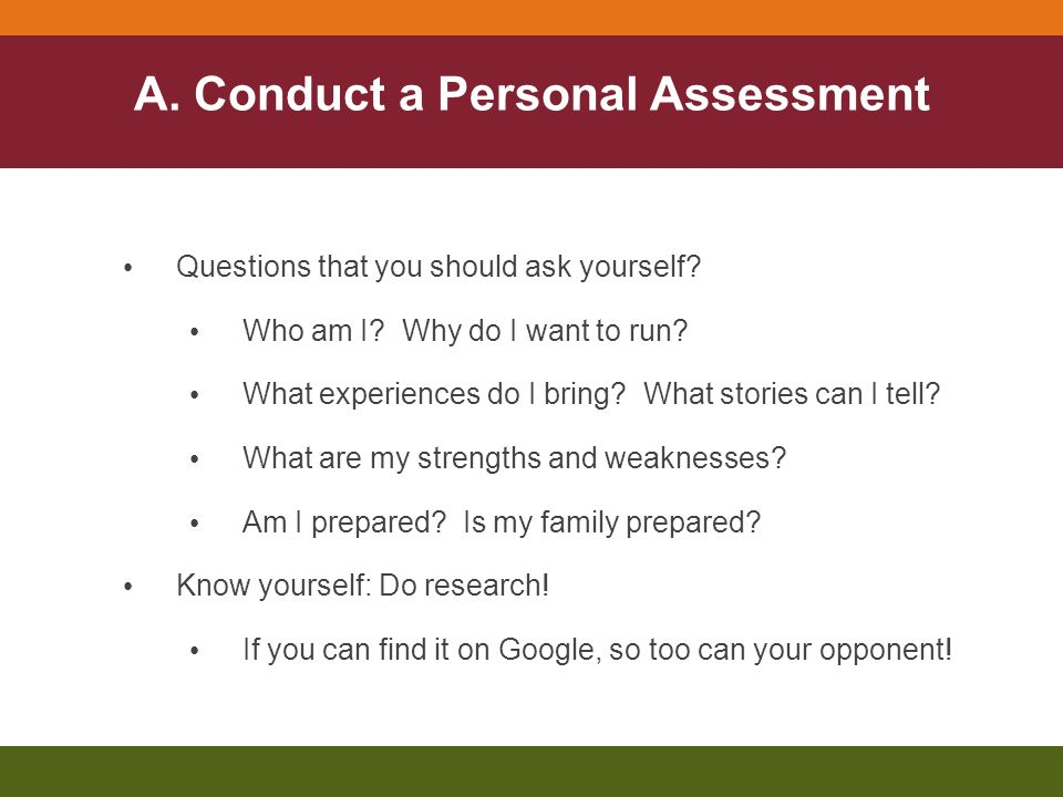 A. Conduct a Personal Assessment Questions that you should ask yourself.
