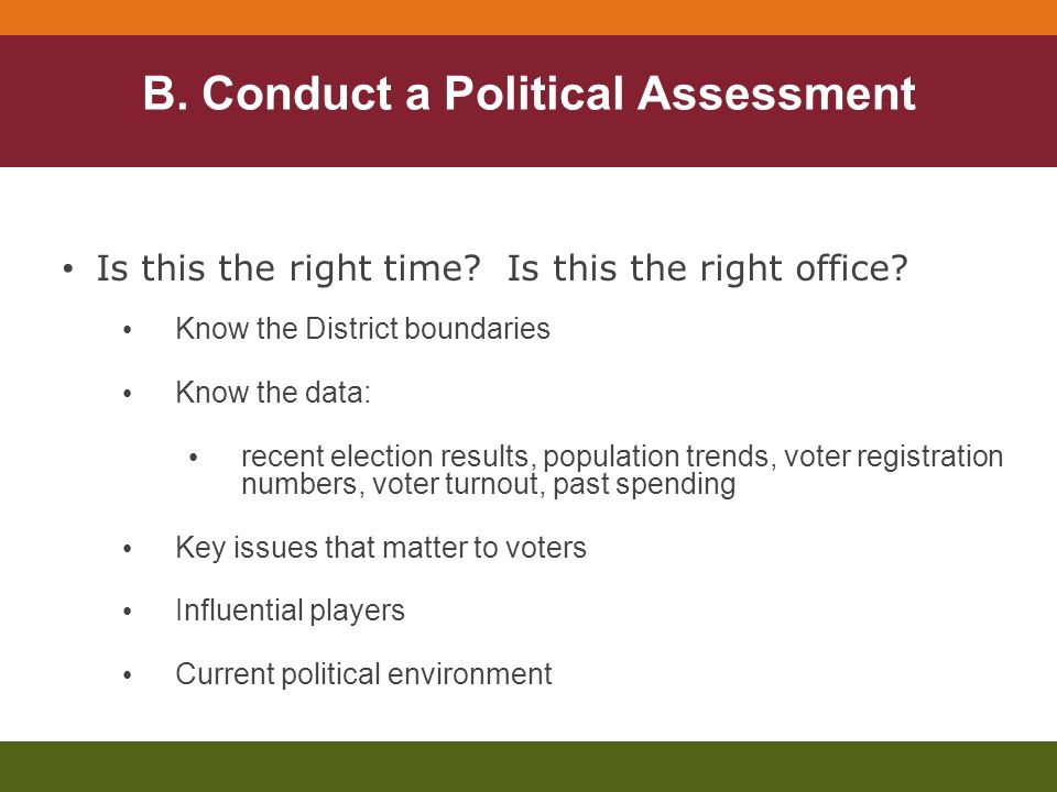 B. Conduct a Political Assessment Is this the right time.