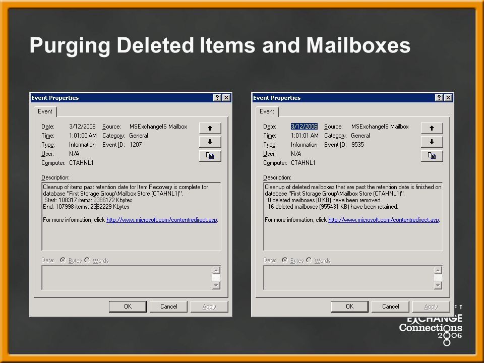 Purging Deleted Items and Mailboxes