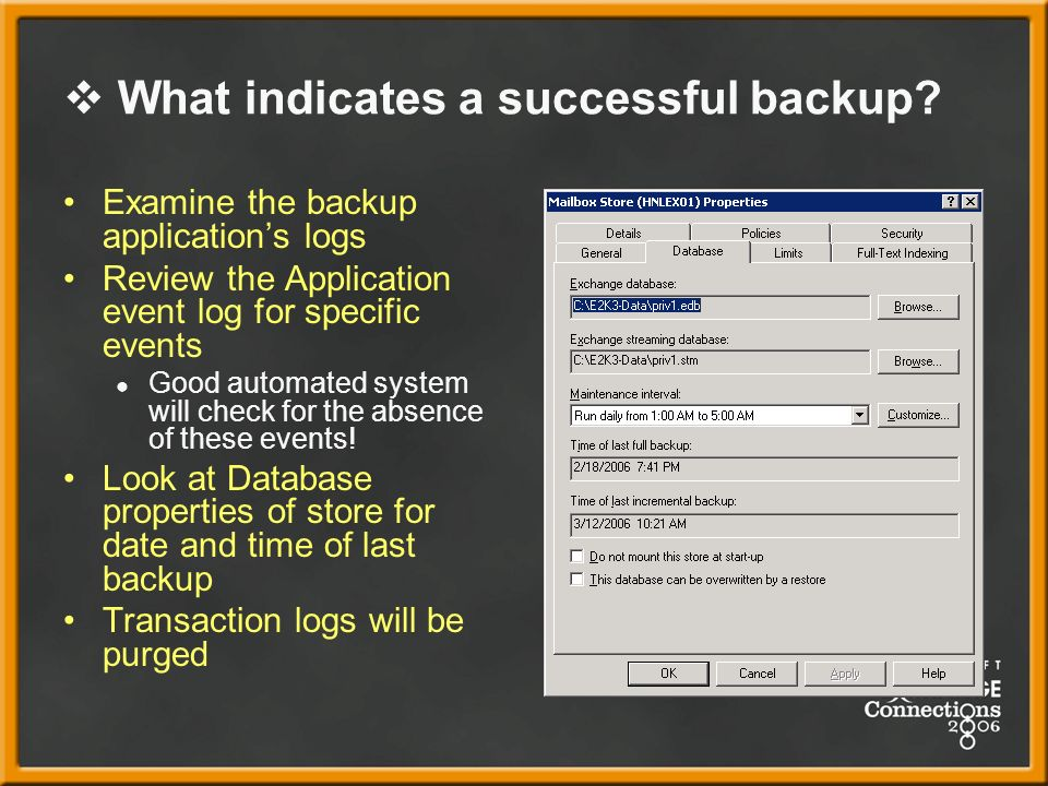 What indicates a successful backup.