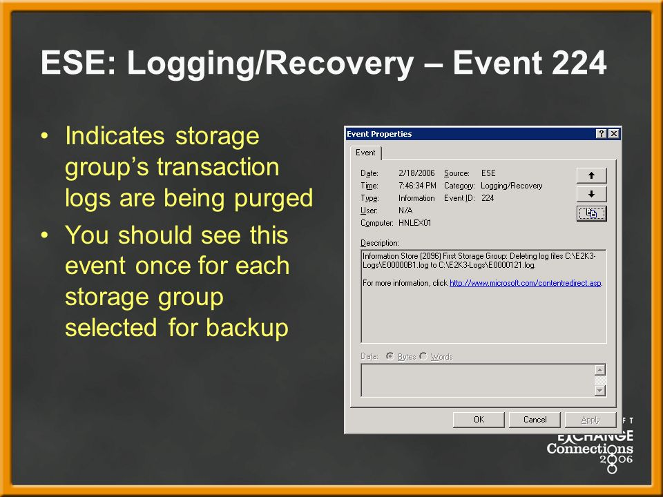 ESE: Logging/Recovery – Event 224 Indicates storage groups transaction logs are being purged You should see this event once for each storage group selected for backup