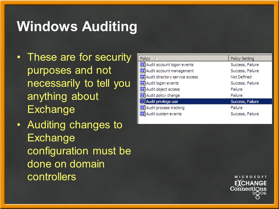 Windows Auditing These are for security purposes and not necessarily to tell you anything about Exchange Auditing changes to Exchange configuration must be done on domain controllers