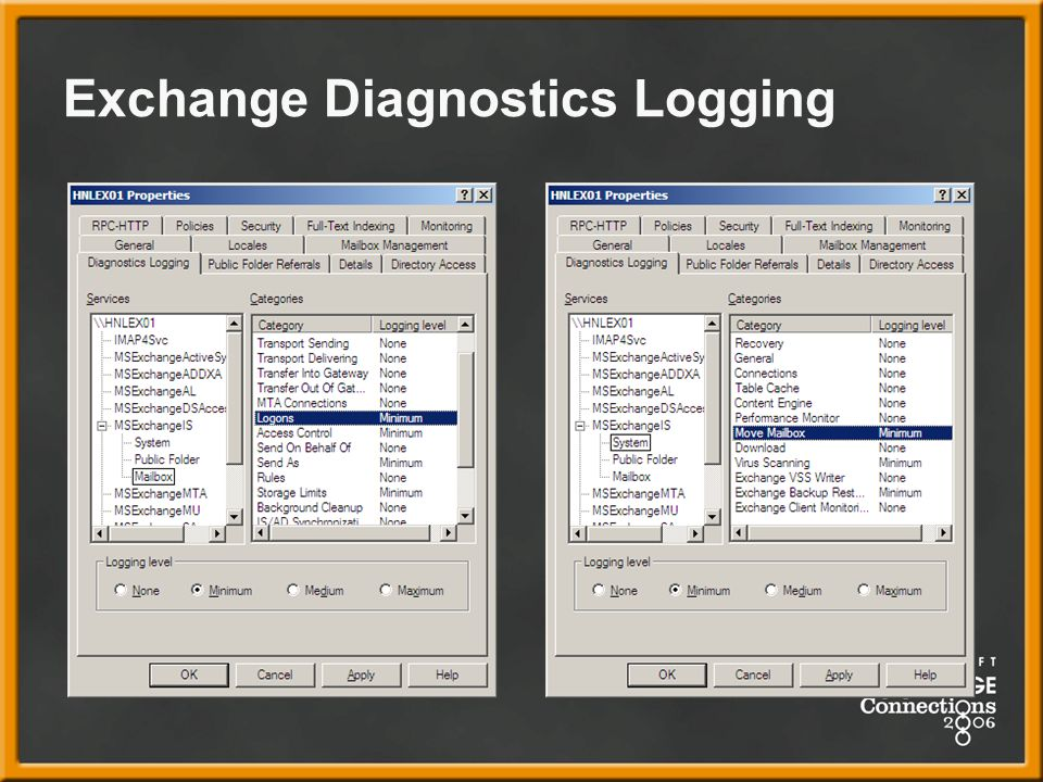 Exchange Diagnostics Logging