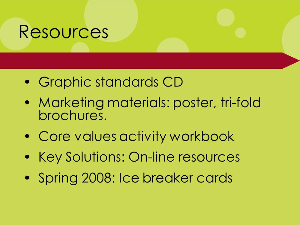Graphic standards CD Marketing materials: poster, tri-fold brochures.
