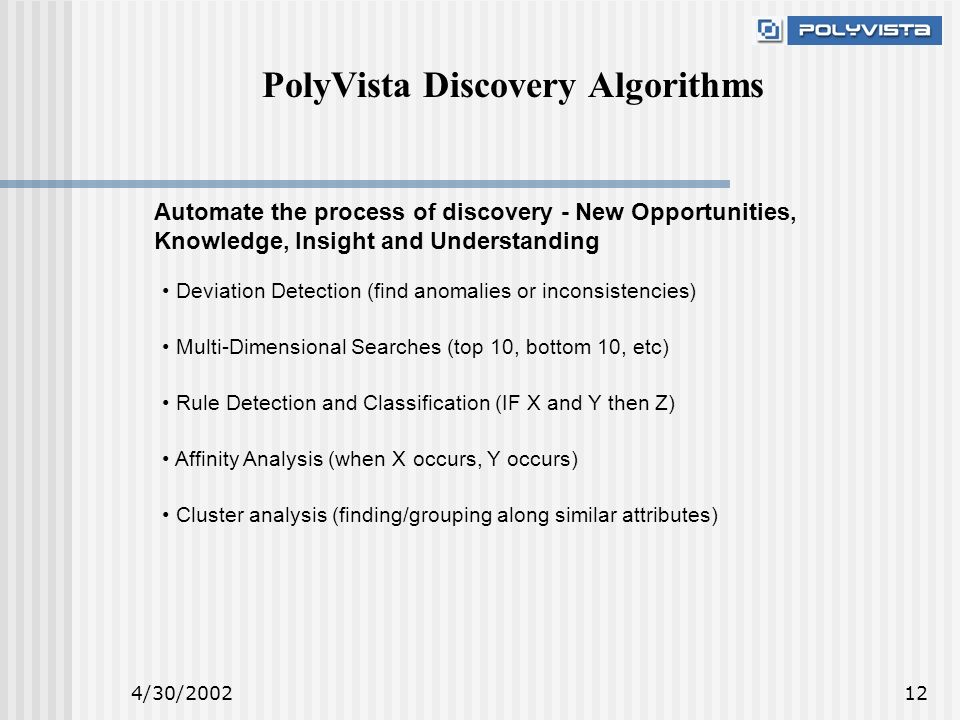 4/30/ PolyVista Discovery Algorithms Rule Detection and Classification (IF X and Y then Z) Deviation Detection (find anomalies or inconsistencies) Multi-Dimensional Searches (top 10, bottom 10, etc) Affinity Analysis (when X occurs, Y occurs) Cluster analysis (finding/grouping along similar attributes) Automate the process of discovery - New Opportunities, Knowledge, Insight and Understanding