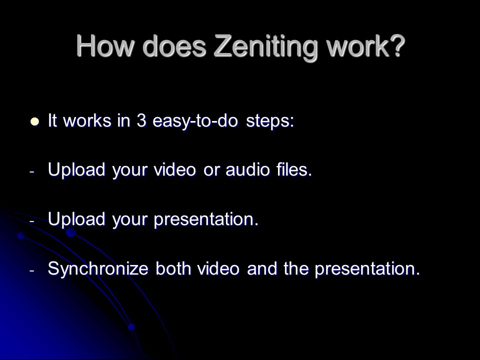 How does Zeniting work.