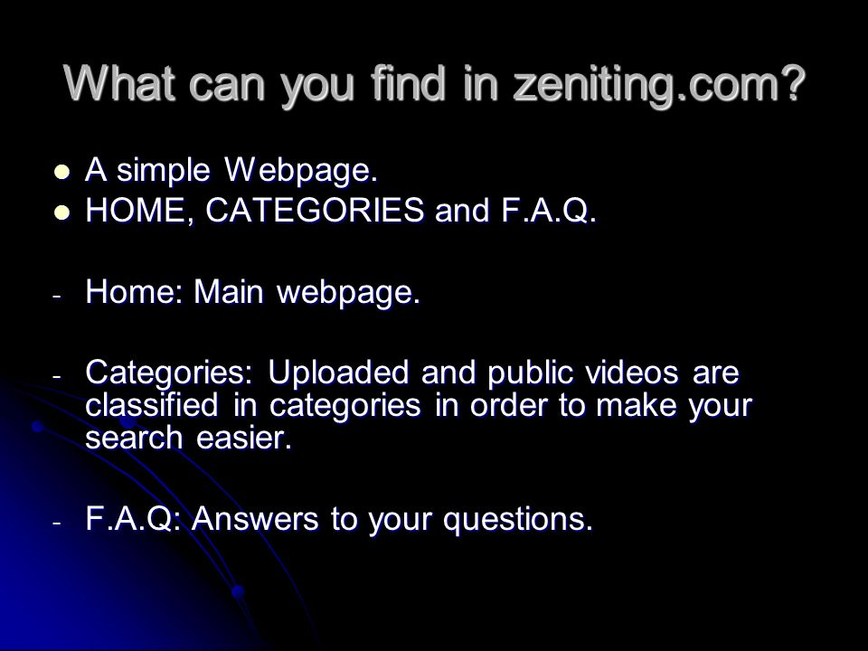 What can you find in zeniting.com. A simple Webpage.