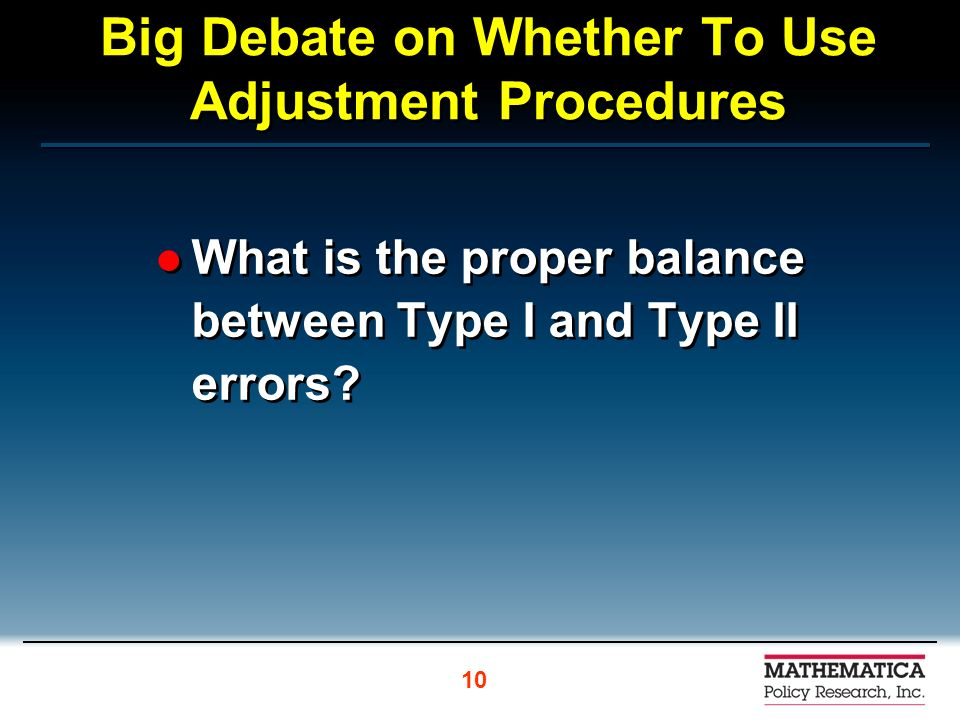 Big Debate on Whether To Use Adjustment Procedures What is the proper balance between Type I and Type II errors.