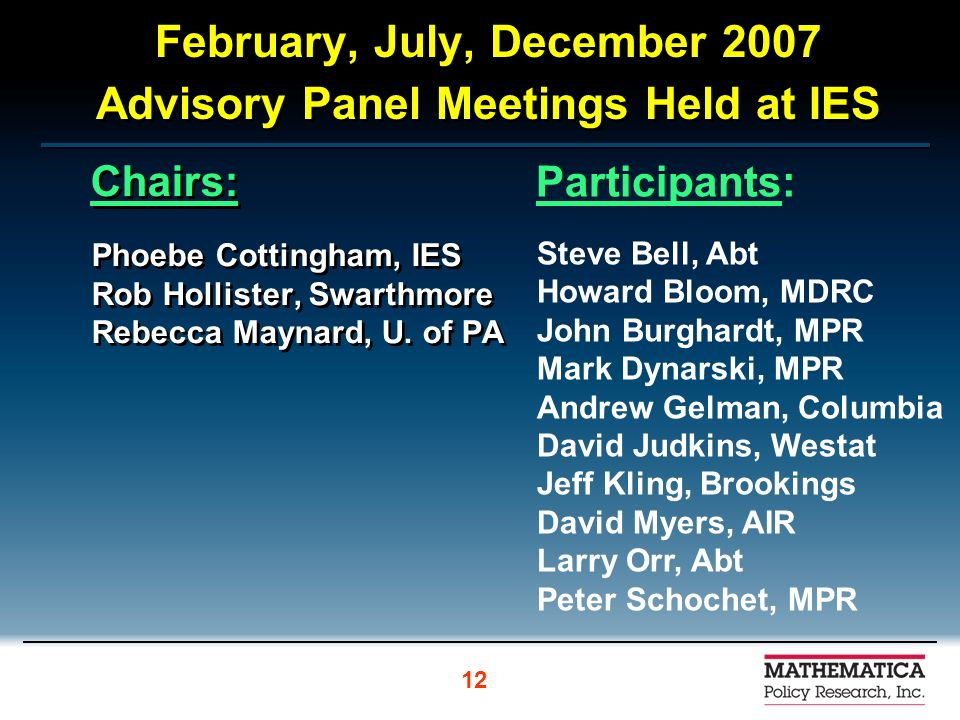 February, July, December 2007 Advisory Panel Meetings Held at IES Chairs: Phoebe Cottingham, IES Rob Hollister, Swarthmore Rebecca Maynard, U.