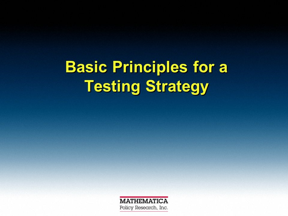 Basic Principles for a Testing Strategy