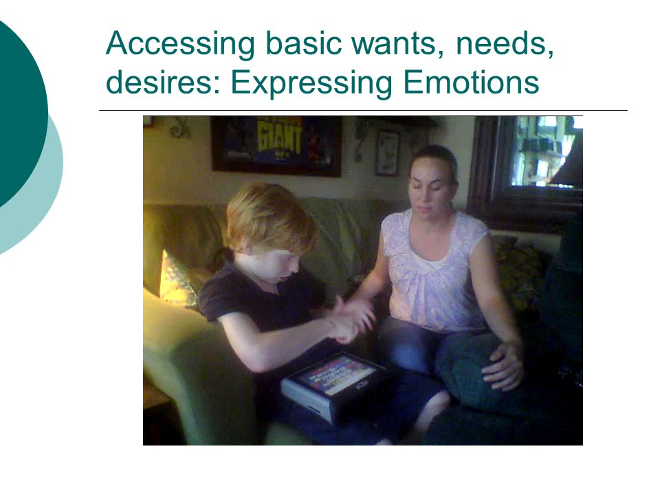 Accessing basic wants, needs, desires: Expressing Emotions
