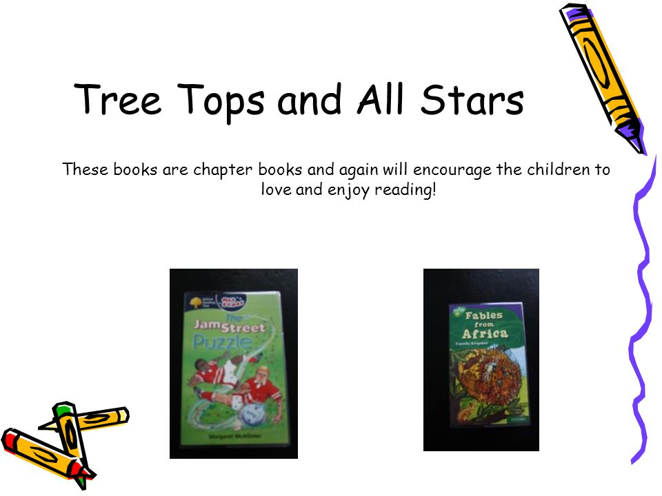 Tree Tops and All Stars These books are chapter books and again will encourage the children to love and enjoy reading!