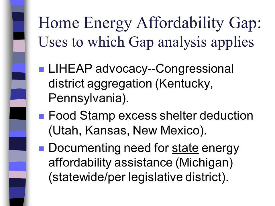Home Energy Affordability Gap: Uses to which Gap analysis applies n LIHEAP advocacy--Congressional district aggregation (Kentucky, Pennsylvania).