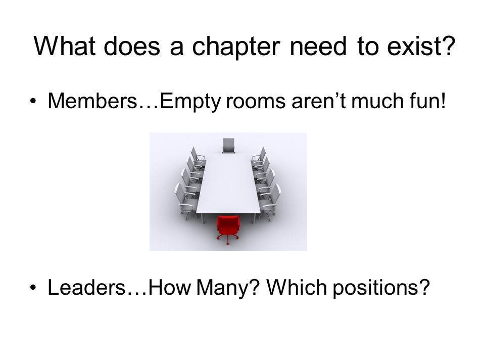What does a chapter need to exist. Members…Empty rooms arent much fun.