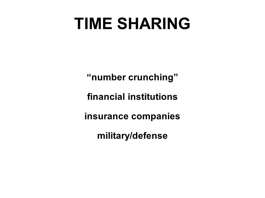 TIME SHARING number crunching financial institutions insurance companies military/defense