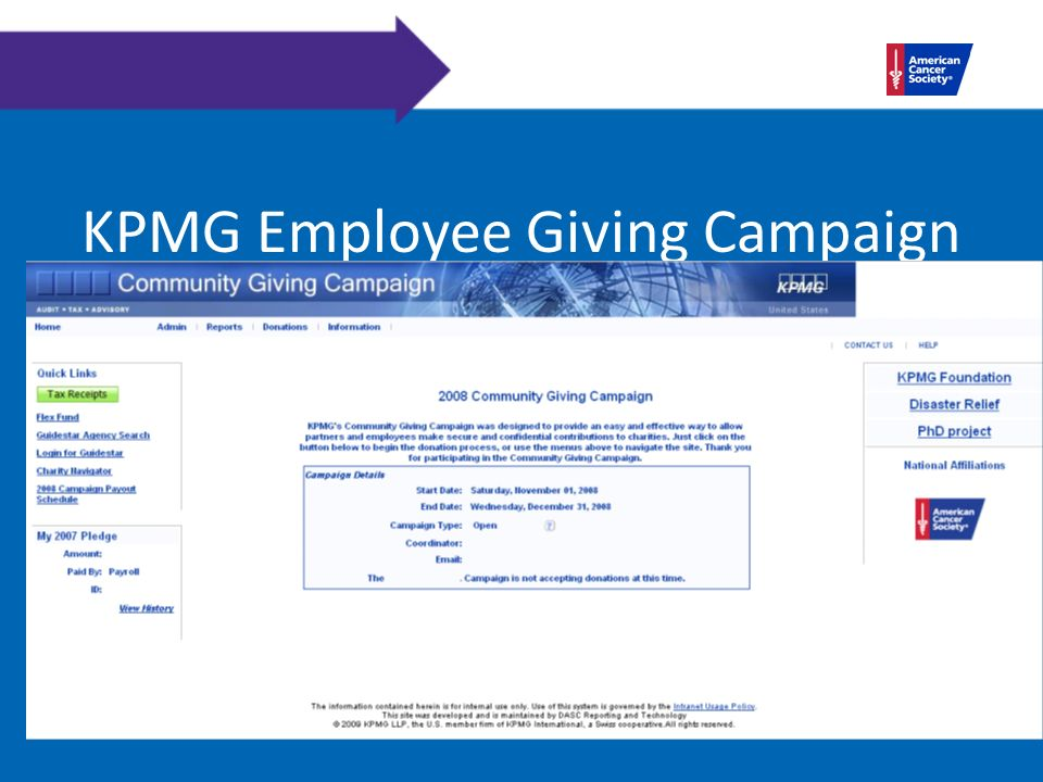 KPMG Employee Giving Campaign