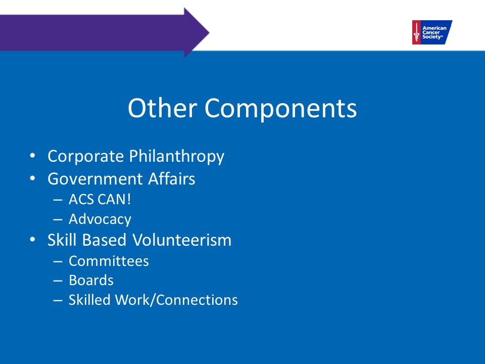 Other Components Corporate Philanthropy Government Affairs – ACS CAN.