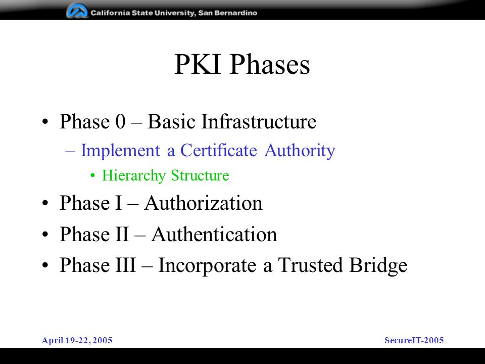 April 19-22, 2005SecureIT-2005 PKI Phases Phase 0 – Basic Infrastructure –Implement a Certificate Authority Hierarchy Structure Phase I – Authorization Phase II – Authentication Phase III – Incorporate a Trusted Bridge