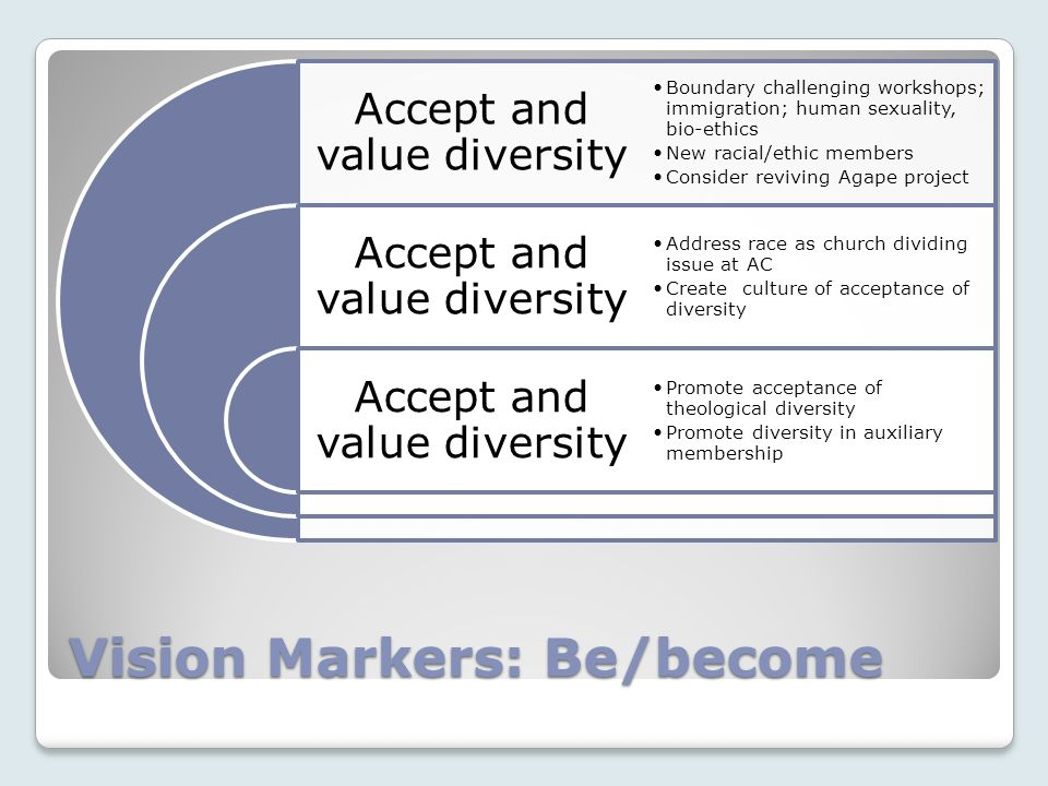 Vision Markers: Be/become Accept and value diversity Boundary challenging workshops; immigration; human sexuality, bio-ethics New racial/ethic members Consider reviving Agape project Address race as church dividing issue at AC Create culture of acceptance of diversity Promote acceptance of theological diversity Promote diversity in auxiliary membership