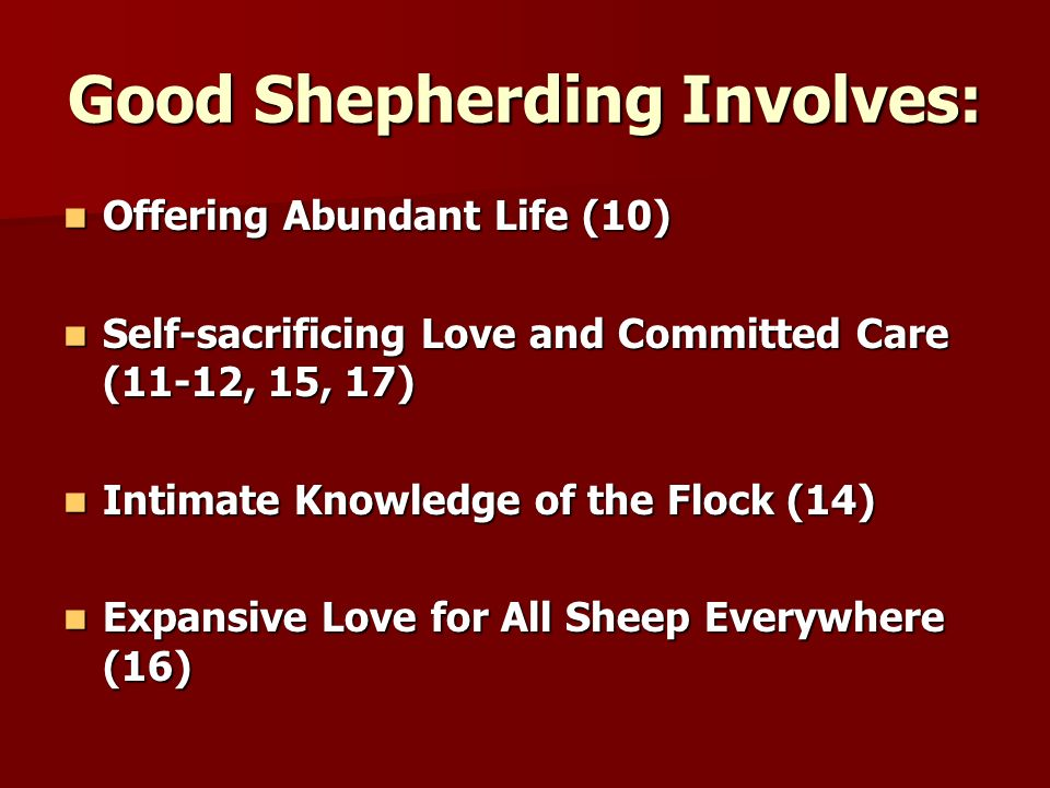 Good Shepherding Involves: Offering Abundant Life (10) Offering Abundant Life (10) Self-sacrificing Love and Committed Care (11-12, 15, 17) Self-sacrificing Love and Committed Care (11-12, 15, 17) Intimate Knowledge of the Flock (14) Intimate Knowledge of the Flock (14) Expansive Love for All Sheep Everywhere (16) Expansive Love for All Sheep Everywhere (16)
