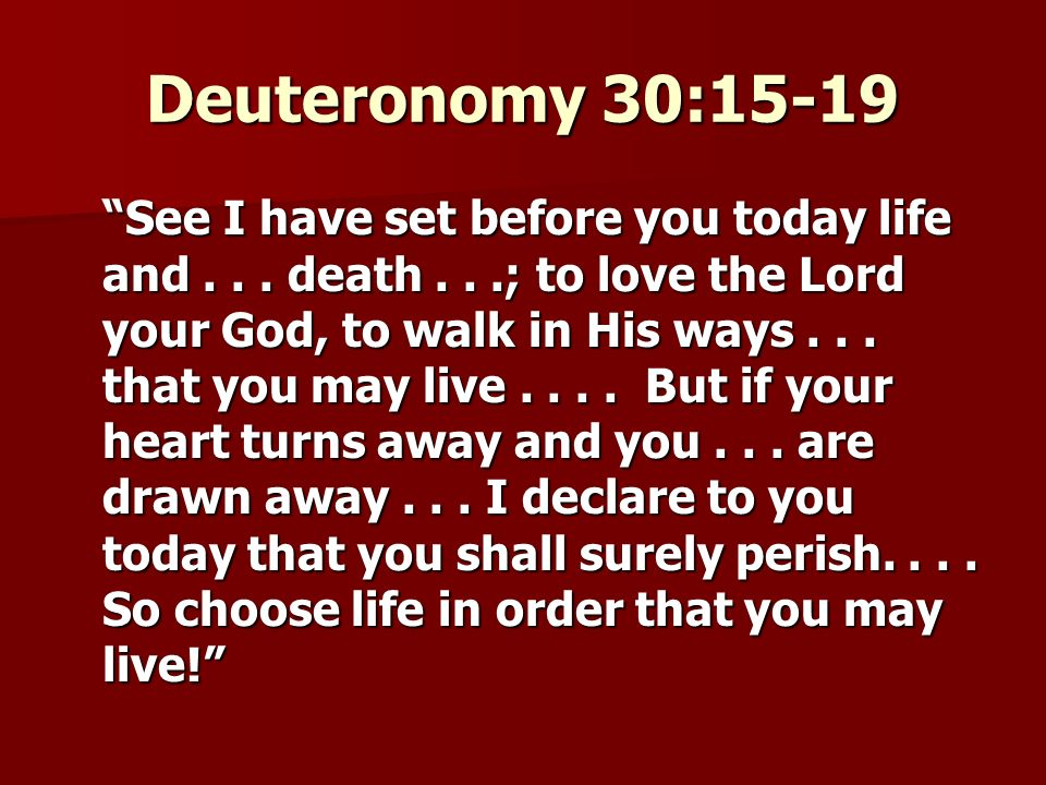 Deuteronomy 30:15-19 See I have set before you today life and...