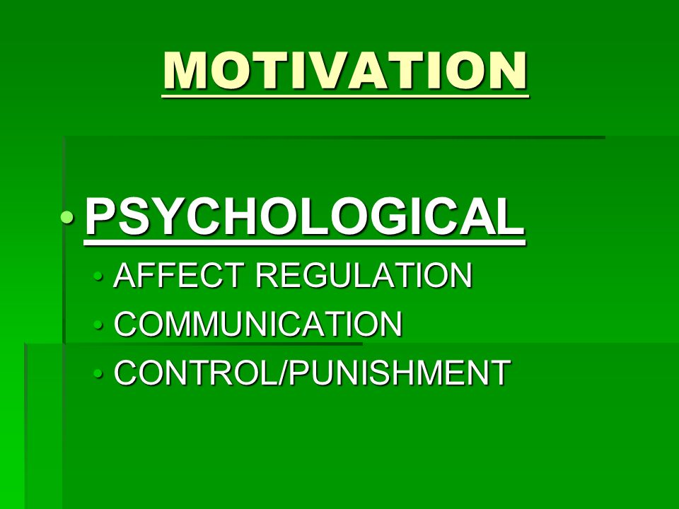 MOTIVATION PSYCHOLOGICAL PSYCHOLOGICAL AFFECT REGULATION AFFECT REGULATION COMMUNICATION COMMUNICATION CONTROL/PUNISHMENT CONTROL/PUNISHMENT