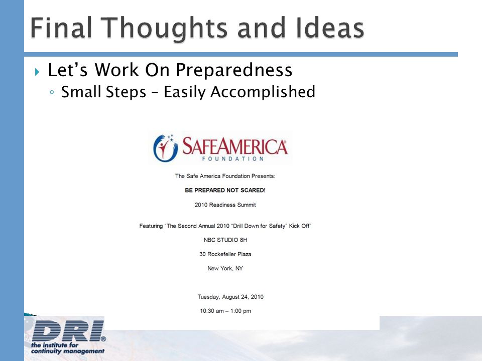 Final Thoughts and Ideas Lets Work On Preparedness Small Steps – Easily Accomplished