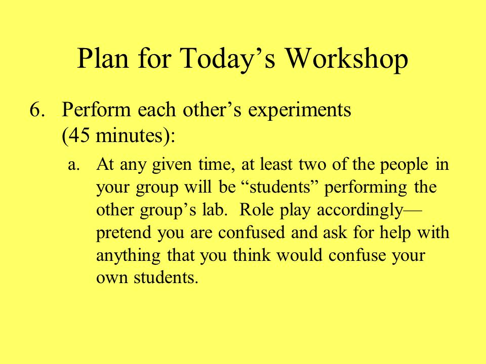 Plan for Todays Workshop 6.Perform each others experiments (45 minutes): a.At any given time, at least two of the people in your group will be students performing the other groups lab.