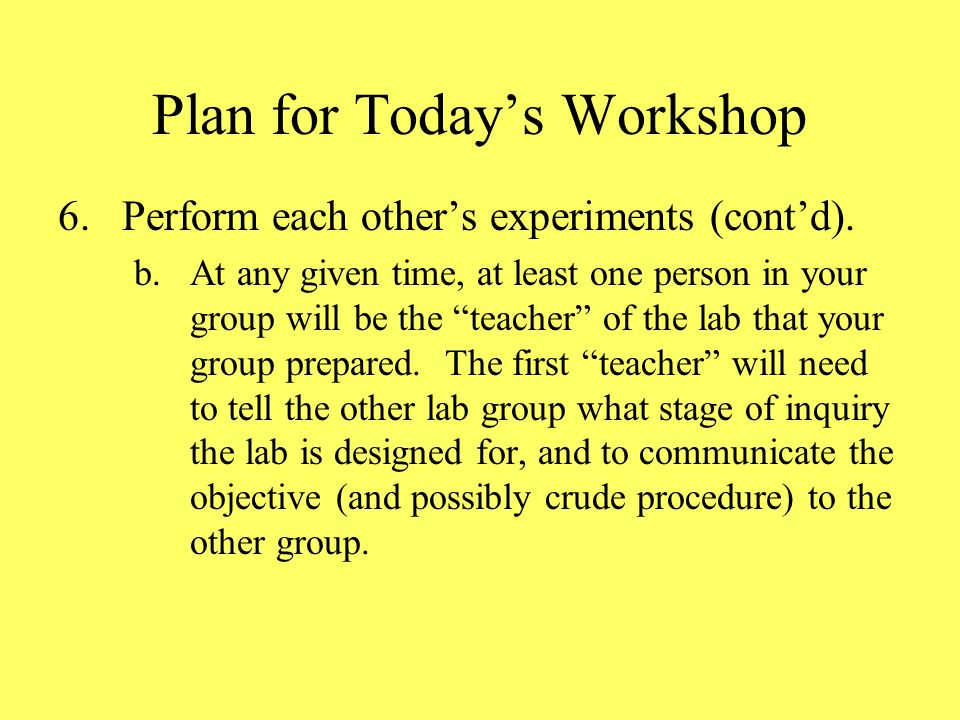 Plan for Todays Workshop 6.Perform each others experiments (contd).