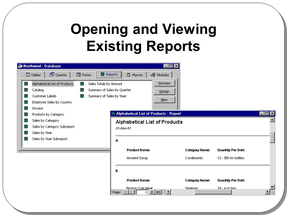 Opening and Viewing Existing Reports