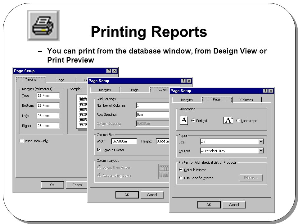 Printing Reports –You can print from the database window, from Design View or Print Preview