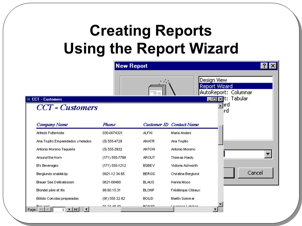 Creating Reports Using the Report Wizard
