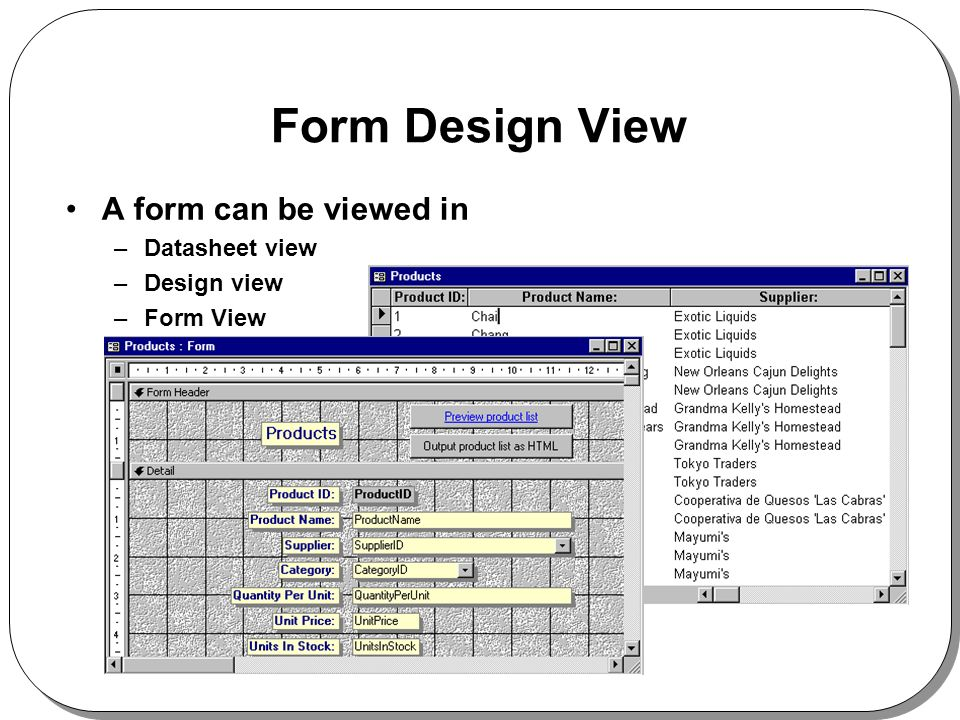 Form Design View A form can be viewed in –Datasheet view –Design view –Form View