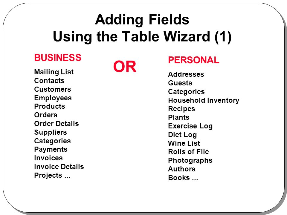 Adding Fields Using the Table Wizard (1) BUSINESS Mailing List Contacts Customers Employees Products Orders Order Details Suppliers Categories Payments Invoices Invoice Details Projects...
