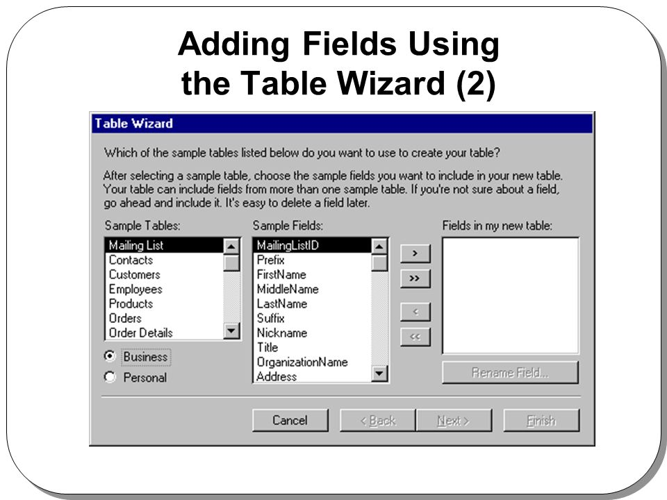 Adding Fields Using the Table Wizard (2)